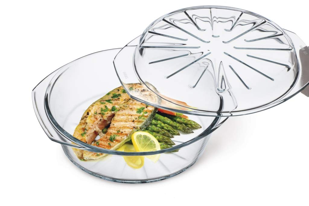 Simax Clear Glass Round Baking Dish | With Lid – Raised Ridges for Fat Free Cooking – Durable Borosilicate Glass – Microwave and Dishwasher Safe – Made in Europe – 2.6 Quart Round Baking Dish