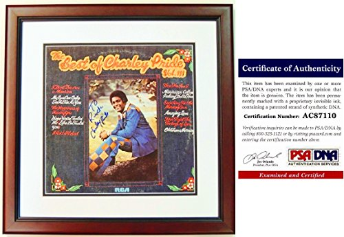 Charley Pride Signed - Autographed The Best Of Charley Pride Volume III LP Record Album Cover with PSA/DNA Certificate of Authenticity (COA) MAHOGANY CUSTOM FRAME - Personalized To Rick