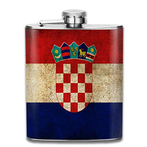 (FTRGRAFE Retro Croatia Flag Outdoor Portable 304 Stainless Steel Leak-Proof Alcohol Whiskey Liquor Wine 7OZ Pot Hip Flask Travel Camping Flagon for Man Woman Flask Great Little)