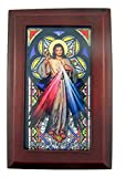 Catholic Religious Divine Mercy Stained Glass Mahogany Wood Musical Jewelry Box, 6 1/2 Inch