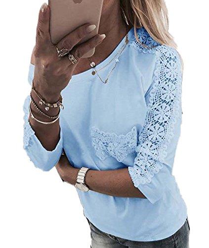 Bleu Dentelle 4 avec Haut Casual Tops Femme Col Shirt Clair Poche Unie Rond Manches Epissure Blouses Couleur Chemisiers 3 T OUFour 8HYqgn