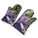 T-Rex Oven Mitts/Gloves - Heat Resistant Handle Hot Oven/Cooking Items Safely - Soft Insulated Deep Pockets Pack of 2 Mitts
