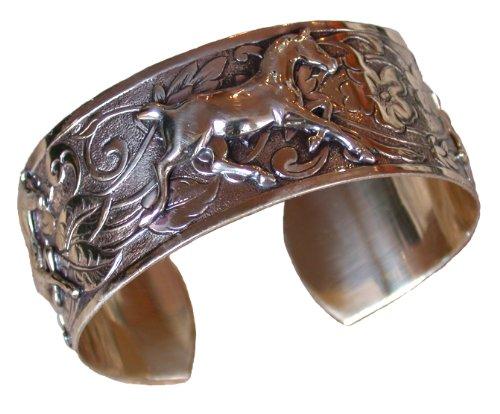 Elaine Coyne Hand Polished Brass Contemporary Running Horse Cuff Bracelet