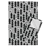 Roostery Native Teepee Southwest Tipi Grey Nursery Tea Towels Teepee Trees Woodland Nursery by Andrea Lauren Set of 2 Linen Cotton Tea Towels