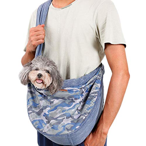 PETTOM Pet Sling Carrier Dog Cat Breathable Mesh Carrier Adjustable Strap Wrap Satchel Hands Free Kitten Pouch Pet Papoose Swaddle Bag Lightweight