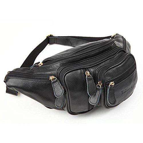 UPC 701979910634, Tiding Men's Black Genuine Leather Travel Fanny Waist Packs Hip Bum Bags 3037