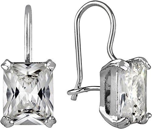 Roman Rectangle Glass Stone Drop Earrings Clear/silver tone (Stone Glass Roman)