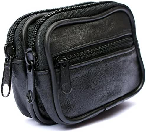 Mens and Ladies Small Real Leather Belt Wallet Purse Pouch Bag Three Zips
