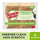 Scotch-Brite Greener Clean Natural Fiber Non-Scratch Scrub Sponge, Everyday Cleaning Power. Made from Plants, 6 Scrub Sponges