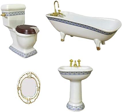 Modern Style Porcelain Bathroom Set for 1//12 Miniature Dollhouse Accessories