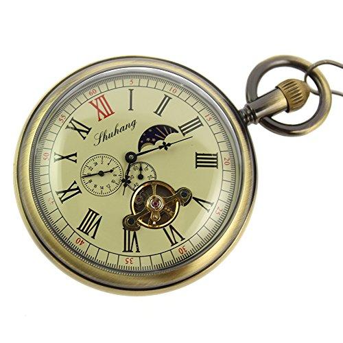 itemstoday taschenuhr mit Mondphasen-Anzeige Tourbillon-Uhr Kupfer Herrenuhr Antik-Optik Mechanische Taschenuhr