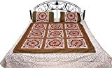 Exotic India Ivory Bedspread from Gujarat with Embroidered Flowers and Mirrors - Pure Cotton with Pillow Covers
