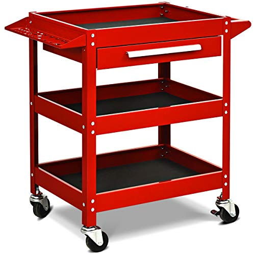(Goplus Service Tool Cart Tool Organizers, 330 LBS Capacity 3-Tray Rolling Utility Cart Trolley with Drawer, Industrial Commercial Service Cart, Mobile Storage Cabinet Organizer Dollies)