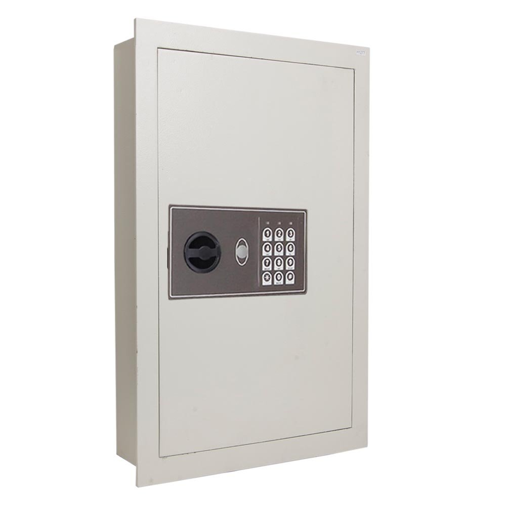 Yescom 0.8CF Keyless Recessed Flat Electronic Wall Hidden Safe Large Jewelry Gun Security White