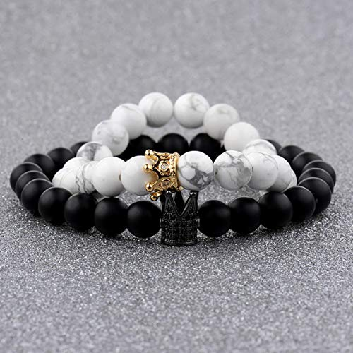 Florance jones King Queen Crown His and Her Friendship 8mm Beads Couple Bracelets Charm Gift | Model BRCLT - 4690 | Couple ()