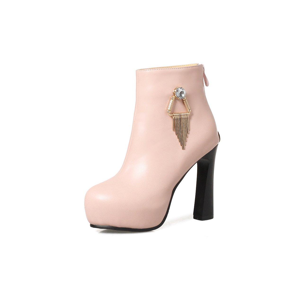 - DYF Chaussures Botte Courte Bold Fond épais en Métal AU Talon Haut,35,Rose Strass