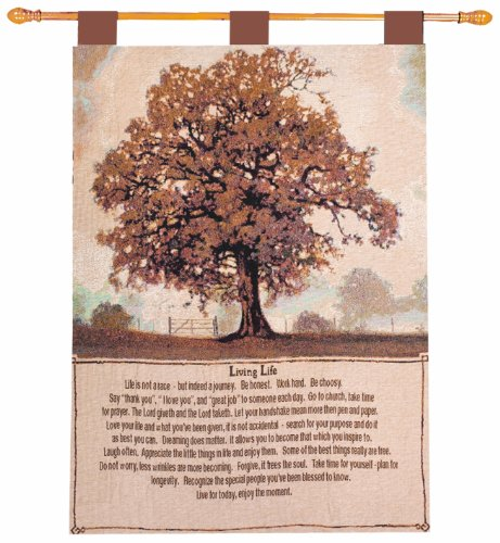 Manual Inspirational Collection 26 X 36-Inch Wall Hanging and Finial Rod, Living Life (Throw Inspirational Tapestry Prayer)