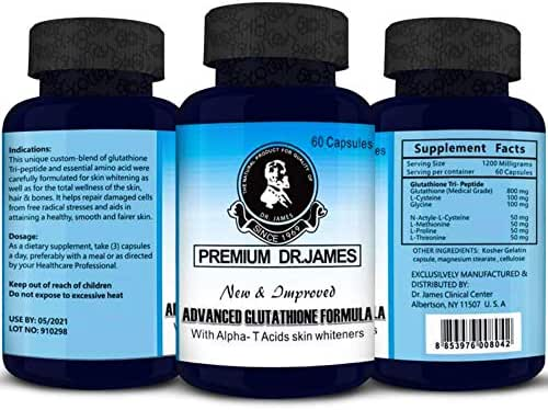 Premium Dr.James Advanced Glutathione 1000mg Skin Whitening Supplement 60 Capsules Antioxidant to Support Liver Health & Detox - Max Strength Glutathione Powder Pills to Help Immune & Brain Function