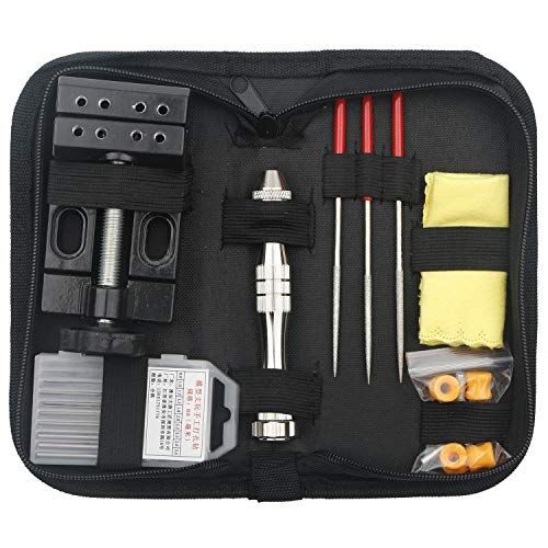 Unxuey Set of 5pcs Hand Tool Set Bench Clamp drill Set Aluminum Alloy Hand Drill Tool kit for Jewelry Walnut Sculpture Model Diamond Beads Punching Tool Set with Delicate Bags.