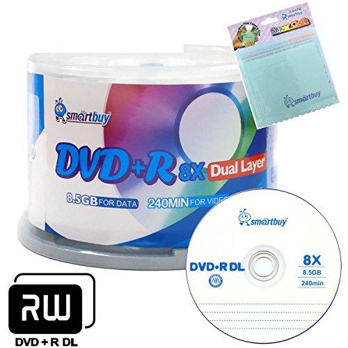 Smartbuy 50-disc 8.5GB/240min 8x DVD+R DL Logo Top Blank Media Record Disc + Free Micro Fiber Cloth by Smartbuy