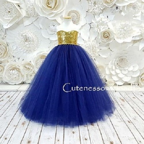 41775ce08 Amazon.com: Navy with Gold Sequins Flower Girl Tutu Dress: Handmade