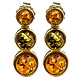 Multicolor Amber 14k Gold Three-stone Stud Earrings