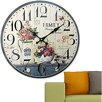 Home Sweet Home - 12 inch Simplicity Wooden Wall Clock, Silent Non Ticking Quality Quartz Battery Operated Numeral Design Rustic Country Tuscan Style ...