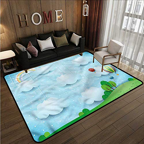 (Collection Area Rug Kids Balloons Clouds Stars Hill Rustic Home Decor 5'6