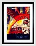 TRAVEL EXHIBITION 1934 CHICAGO WORLD FAIR TRAM AIRSHIP FRAMED ART PRINT B12X6399