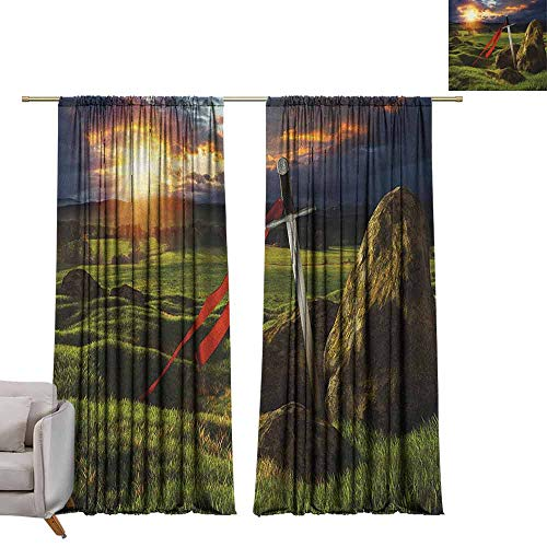 Thermal Curtains King,Arthur Camelot Legend Myth in England Ireland Fields Invincible Myth Image, Green Blue and Red W72 x L96 Blackout Curtains for Bedroom