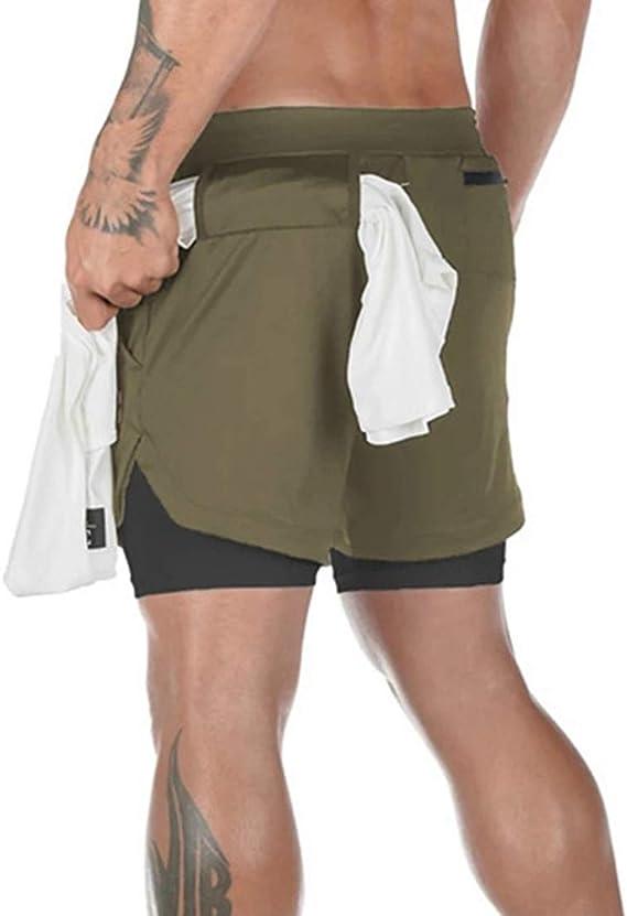 Kfnire Pantaloncini da Running Uomo 2 in 1 Pantalone Corto Sportivo Uomo con Fodera Interna Integrata Compression Short Pantaloncini da Asciugatura Rapida Traspirante con Tasca Interna Incorporata