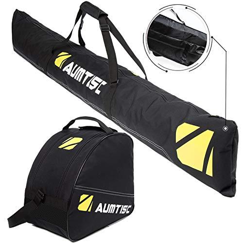 Ski 1 Piece (Aumtisc Ski Bag Two Piece Ski and Boot Bag Combo for 1 Pair of Ski and Boots,Adjustable Length Ski Bag Up to 200cm (Black))