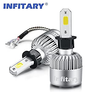 Infitary LED Headlight Bulbs H3 Conversion Kits Car LED Headlights 72W/Pair 6500K 8000LM Extremely Super Bright COB Chips- 1 Pair-3 Year Warrenty
