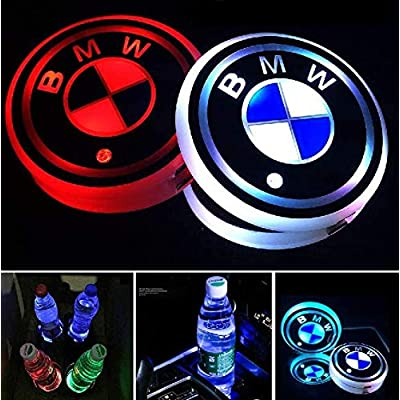 OSIRCAT 2.67 Inch LED Car Cup Holder Lights for BMW,Car Logo Coaster with 7 Colors Changing USB Charging Mat,Luminescent Cup Pad Interior Atmosphere Lamp Decoration Light(2PCS): Automotive