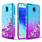 Samsung Galaxy J3 2018 Case/J3 Star/J3 Achieve/Express Prime 3/Amp Prime 3/Sol 3/J3 Orbit/J3 TOP/J3 Aura/J3 V 3rd Gen Case [Tempered Glass Screen Protector]Glitter Diamond Liquid Quicksand-Teal/Purple