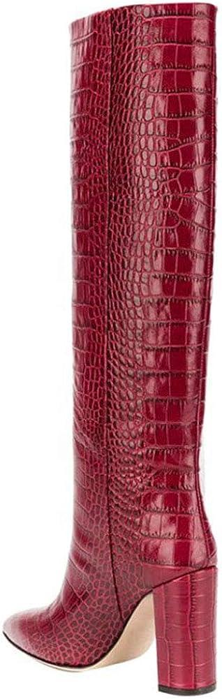 Bfg Boots Femmes cuissardes en cuir Pointu grain de bois épais talon haut non-Slip confortable Automne Hiver Martin Bottes Red