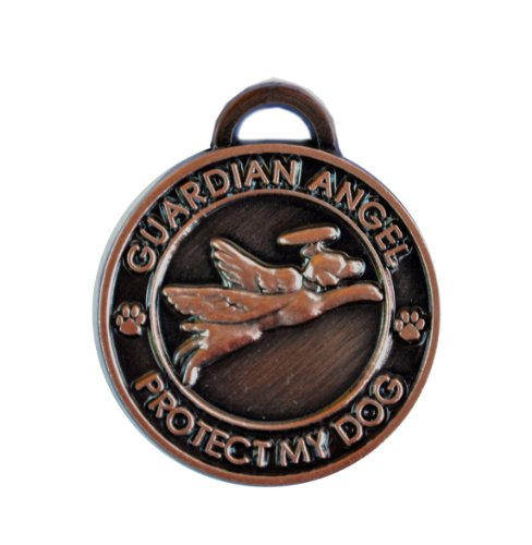 Luxepets Pet Collar Charm, Guardian Angel Dog, Antique Copper