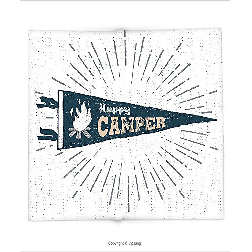 Custom printed Throw Blanket with Camper Happy Camper Written Pennant Flag with Camping Fire Adventure Artsy Graphic Dark Grey Peach Super soft and Cozy Fleece (Tigers Party Pennant Flags)