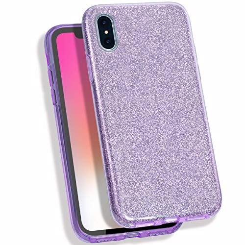 MATEPROX iPhone Xs Max Case Glitter Slim Shiny Sparkle Crystal Bling Cover Cute Girls Case for iPhone Xs Max 6.5'' (Pink Glitter Crystal Hard Case)