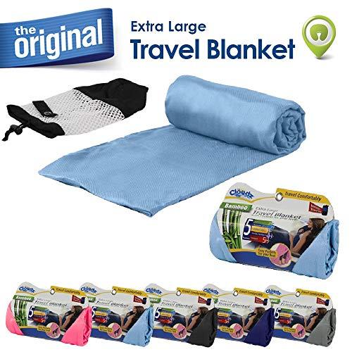 (Cloudz Bamboo Travel Blanket with Bag - Light Blue)