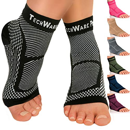 TechWare Pro Ankle Brace Compression Sleeve - Relieves Achilles Tendonitis, Joint Pain. Plantar Fasciitis Foot Sock with Arch Support Reduces Swelling & Heel Spur Pain. Injury Recovery for ()