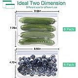 GLAMFIELDS Reusable Food Storage Bags - 12 Pack Leakproof Freezer Ziplock Bags(6 Reusable Sandwich Bags & 6 Reusable…