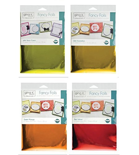 Deco Fancy Foils - Transfer Sheets - 12 each of colors Jelly Bean Green, Wild Dandelion, Sweet Mango, and Red Velvet by Gina K. Designs