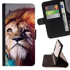 For Samsung Galaxy S4 IV I9500 - Lion abstract Majestic Cat /Funda de piel cubierta de la carpeta Foilo con cierre magn???¡¯????tico/ - Super Marley Shop -