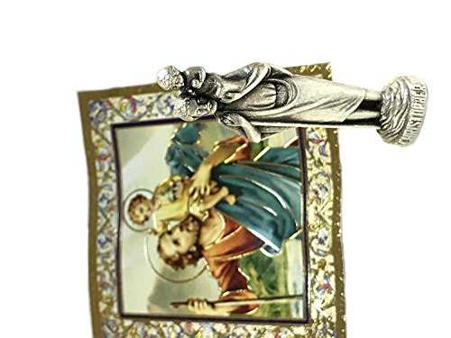 Religious Miniatures - Religious Gifts St Christopher Mini Saint Gift Set Tiny 1 Inch Long Statue & Prayer Card