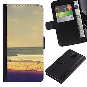 Paccase / Billetera de Cuero Caso del tirón Titular de la tarjeta Carcasa Funda para - Sand Swimming Yellow Sky - Samsung Galaxy Note 4 SM-N910