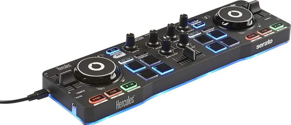 Hercules DJControl Starlight - Controlador de DJ USB portátil 2 Pistas con 8 Pads/Tarjeta de Sonido para PC/Mac, Multicolor: Hercules: Amazon.es: Electrónica