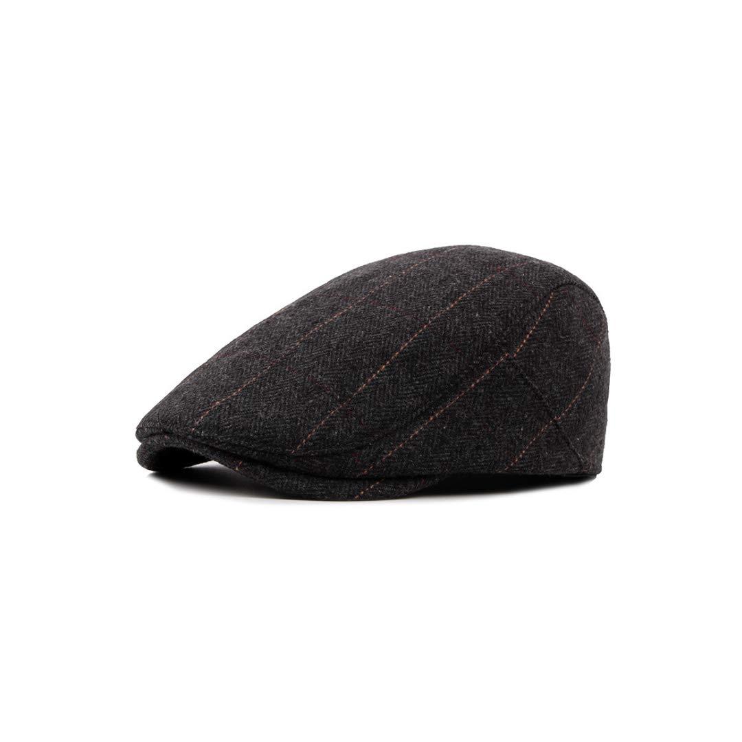 QARYYQ Autumn and Winter Mens Woolen Beret British Plaid Casual Cap Beret Mens hat Color : Gray