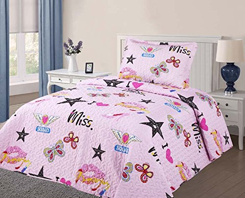 Mk Collection 2 PC Twin Size Bedspread Teens/girls Pink Butterflies Love Miss Stars Lovely Adorable Set New #10 (Bedspread For Teens)