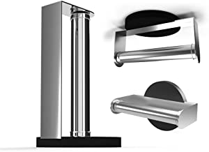 Purelite 3 in 1 Paper Towel Holder and Rack Standing Countertop | Wall Mounted | Mount Under Cabinet | Made of Stainless Steel for Kitchen, Garage and Bathroom | Fits a Large Roll of Papertowel